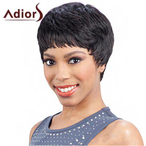 Latest Elegant Short Hairstyle Capless Black Heat Resistant Synthetic Adiors Wig For Women