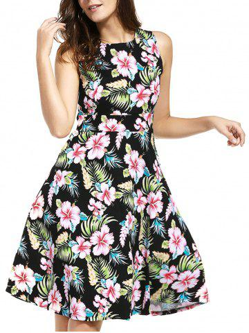 Buy Belted Knee Length Floral Flare Summer Dress BLACK XL