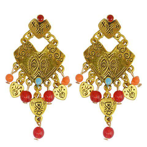 Unique Pair of Ethnic Irregular Heart Eyes Bead Drop Earrings