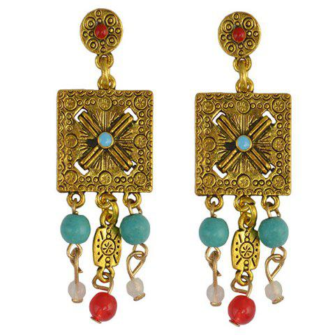 Online Pair of Ethnic Engraved Square Bead Earrings