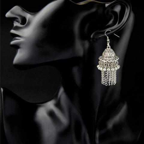 Discount Pair of Ethnic Style Filigree Hat Bell Fringed Earrings
