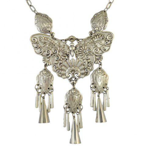 Outfit Statement Engraving Butterfly Fringed Statement Necklace