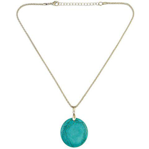 Outfit Bohemian Style Round Faux Turquoise Necklace