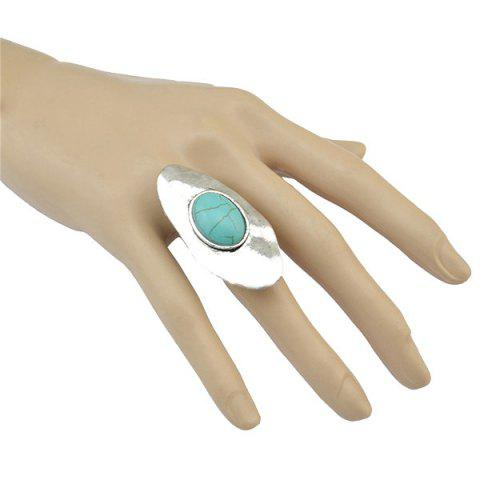 Outfit Faux Turquoise Oval Alloy Ring