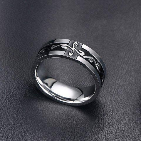 Online Punk Style Black Enamel Cross Silver Plated Ring For Men
