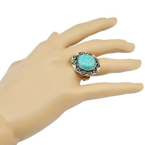 Latest Stylish Faux Turquoise Round Ring For Women