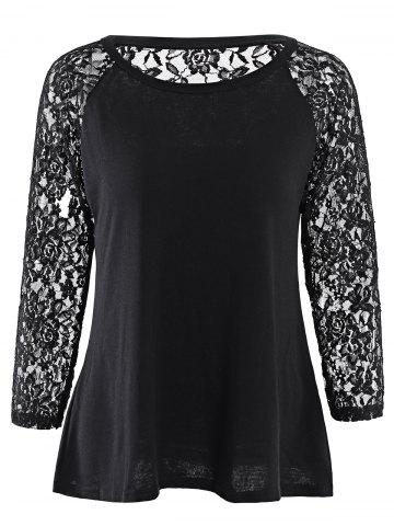 Large BLACK Solid Color Hollow Out Lace Spliced Long Sleeve T Shirt