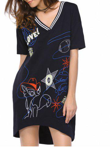 Cheap Casual Short Sleeve V-Neck Embroidery Design Women's Dress