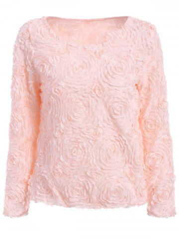 ONE SIZE(FIT SIZE XS TO M) PINK Solid Color Boat Neck 3D Rose Shape Long Sleeve Chiffon Blouse