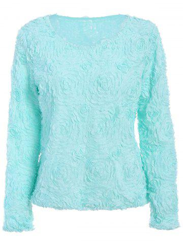 ONE SIZE(FIT SIZE XS TO M) MINT GREEN Solid Color Boat Neck 3D Rose Shape Long Sleeve Chiffon Blouse