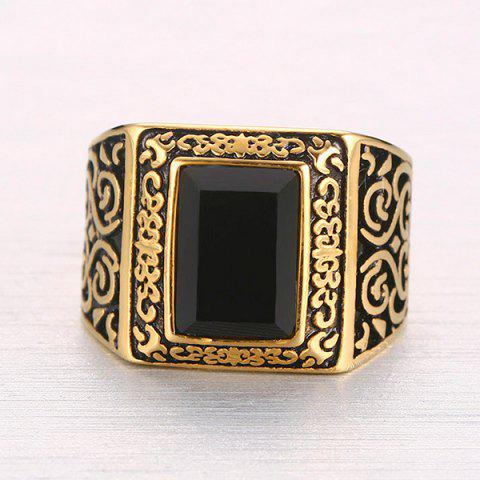 Sale Punk Style Square Shape Faux Black Onyx Etched Carved Alloy Ring For Men