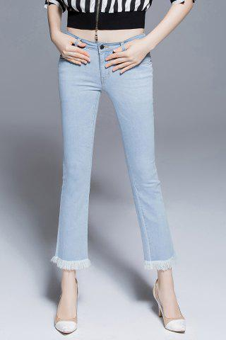 Unique Frayed Hem Skinny Boot Cut Jeans