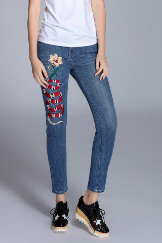 Sale High Waist Embroidered Jeans