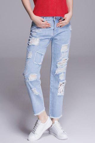 Fashion Frayed Hem Embroidered Jeans