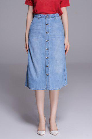 Shop High Waist Button Front Denim Skirt