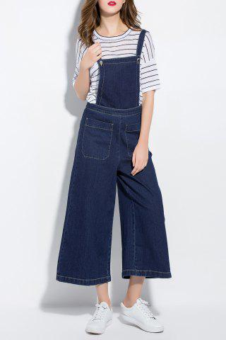 Fashion Palazzo Denim Ankle Overalls