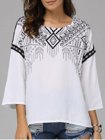 Fashionable Nine-Minute Sleeves Round Collar National Wind Printing T-shirt  For Women - White - S