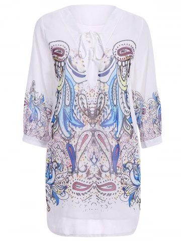Outfit Stylish 3/4 Sleeve V-Neck Lace-Up Printed Women's Dress