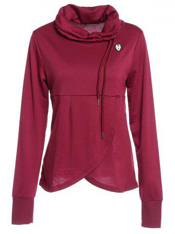 Best Petal Hem Drawstring Embroidered Sweatshirt WINE RED S