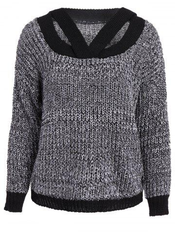 Cheap Stylish V-Neck Long Sleeve Hollow Out Spliced Women's Sweater