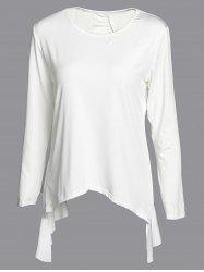 Fashionable 3/4 Sleeve Solid Color Asymmetrical Cut Out Blouse For Women -
