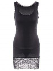 Sexy Style Sleeveless Scoop Neck Solid Color Lace Splicing Packet Buttock Women's Dress (With T-Back)