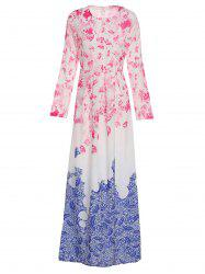 Stylish Round Collar Ombre Flower Long Sleeve Dress For Women -
