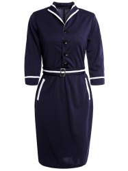 s 'Robe crayon Vintage Button Sleeve Turn-Down Collar 3/4 Conception Femmes - Bleu Violet XL