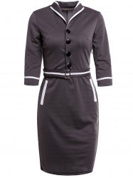 s 'Robe crayon Vintage Button Sleeve Turn-Down Collar 3/4 Conception Femmes - Gris Foncé XL