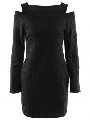 Stylish Round Neck Long Sleeve Cut Out Solid Color Women's Sweater Dress