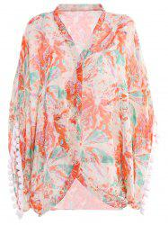 Stylish Collarless Floral Print Fringe Splicing 3/4 Sleeve Cover-Up For Women