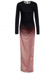 Floor Length Ombre Slit Draped Prom Dress - BLACK XL