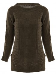 Stylish Round Neck Long Sleeve Solid Color Furcal Women's Sweater -