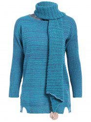 Scoop Neck Long Chunky Sweater with Scarf