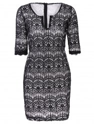 Fashionable Plunging Neckline 3/4 Sleeve Lace Dress For Women - BLACK