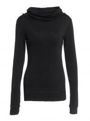 Stylish Black Lace-Up Back Long Sleeves Hoodie For Women - BLACK