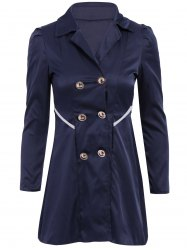 Casual Turn-Down Collar Solid Color Double-Breasted Long Sleeve Women's Coat - CADETBLUE