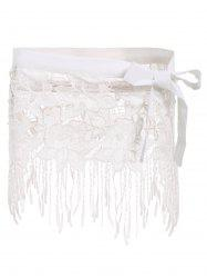 Sexy White Lace Hollow Out Tassels Swim Skirt For Women - WHITE S