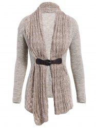 Stylish Collarless Long Sleeve Spliced Slimming Women's Cardigan - GRAY