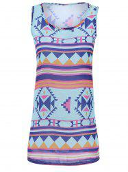Stylish Scoop Neck Sleeveless Geometric Dress For Women - AZURE