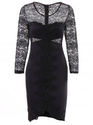 See-Through Lace Panel Bodycon Club Dress -