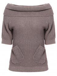 Chic 3/4 Sleeve Pure Color Pocket Design Women's Sweater -