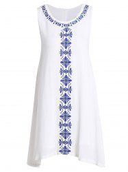 Ethnic Style Jewel Neck Sleeveless Embroidered Dress For Women - WHITE L