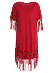 Chic Short Sleeve Red Scoop Neck Fringed Dress For Women