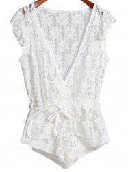 Plunging Neck Sleeveless Cut Out Women's Lace Romper - WHITE S