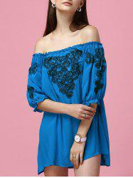 Embroidery Bardot Off The Shoulder Dress