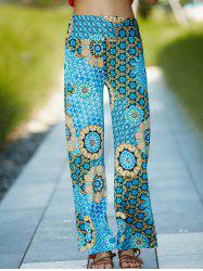 Elastic Waist Geometric Damask Printed Wide Leg Palazzo Pants - GREEN L