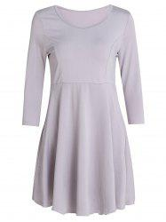 Chic 3/4 Sleeve Scoop Neck Pure Color A-Line Dress For Women