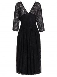 Plus Size Lace Midi V Neck A Line Dress
