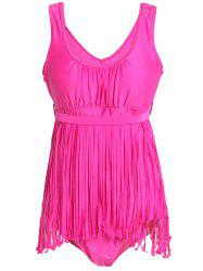 Scoop Neck Sleeveless Fringed Solid Color Swimwear For Women - ROSE 3XL